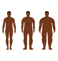 fat african men cartoon outline style human front vector image vector image