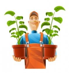 gardener with flowerpot vector image