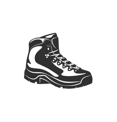 hiking boot shoe black and white vector image