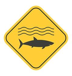 Shark Danger Yellow Sign vector image