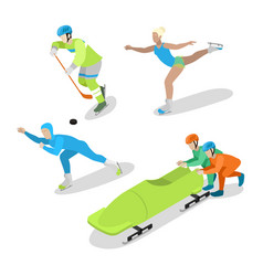 winter sports people isometric flat vector image vector image