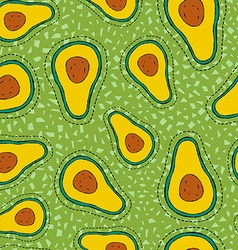 Avocado stitch patch icon on seamless pattern vector image vector image