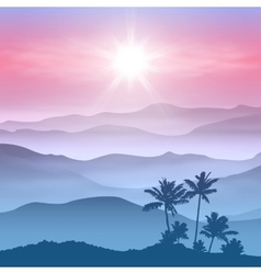 Background with palm tree and mountains in the fog vector image