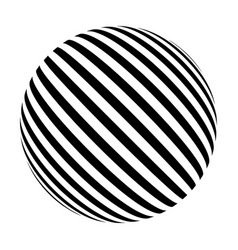black and white sphere of lines vector image vector image