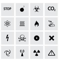black danger icons set vector image