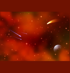 Cosmic red galaxy background nebula milky way vector