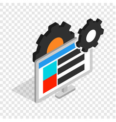gears and computer monitor isometric icon vector image vector image