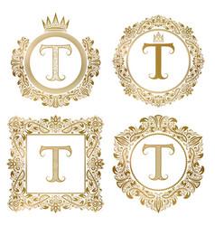 golden letter t vintage monograms set heraldic vector image vector image