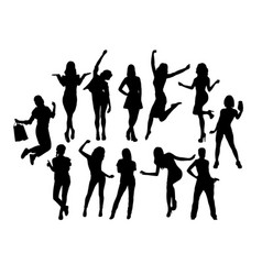 happy woman activity silhouettes vector image vector image
