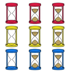 hourglass icons set in 3 colors vector image
