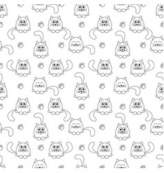 seamless pattern with cute cats and footprints vector image vector image