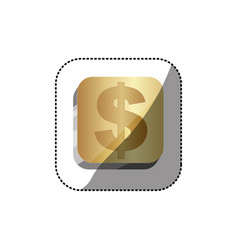 sticker golden square 3d button with dollar symbol vector image
