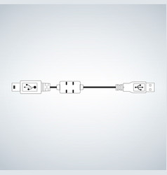 usb micro cable for computer camera mobile devices vector image