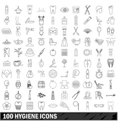 100 hygiene icons set outline style vector image