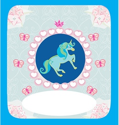 beautiful Unicorn card vector image