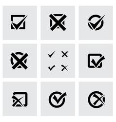 black check marks icon set vector image vector image
