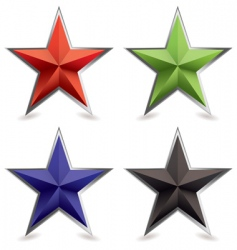 metallic star icons vector image vector image