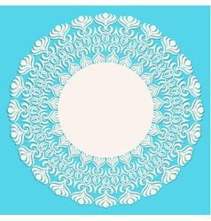 Round beige ornament frame on blue background vector image vector image