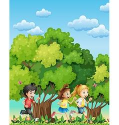 Three kids running outdoor vector image vector image