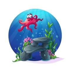 Underwater cartoon comic octopus on rocks in ocean vector image