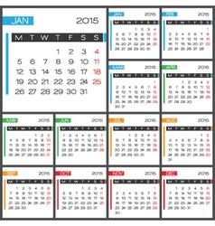 2015 Full Calendar multicolor template vector image vector image