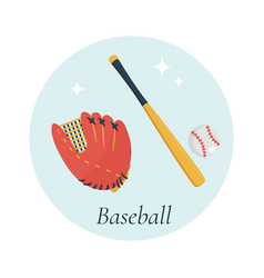 bat glove and ball baseball equipment vector image vector image