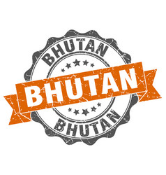 bhutan round ribbon seal vector image