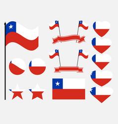 chile flag set symbols flag in heart vector image vector image