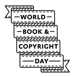 World Book and Copyright Day greeting emblem vector image