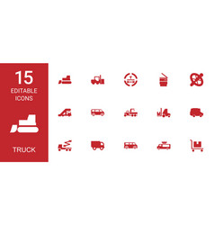 15 truck icons vector