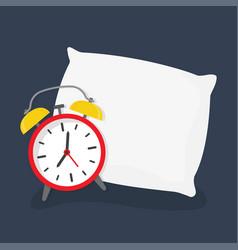 Alarm clock sleeping on pillow vector