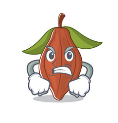 angry cacao bean mascot cartoon vector image