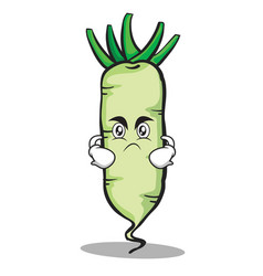 angry white radish cartoon character vector image