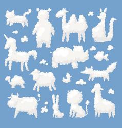 Animal clouds white silhouette sweet dreams kid vector