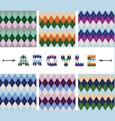 argyle seamless pattern set textile colorful vector image
