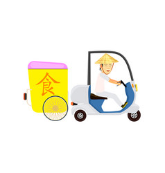 Asian fast food delivery icon with courier man vector