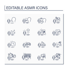 Asmr line icons set vector