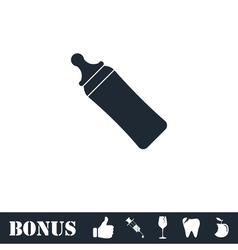 Baby bottle icon flat vector