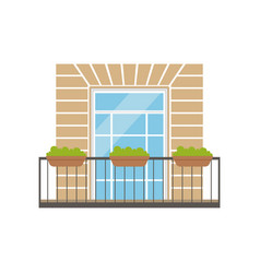 Balcony with wrought iron railing and plants in vector