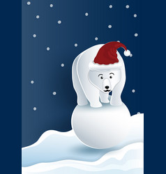 Bear wearing red hat standing on snowball with vector