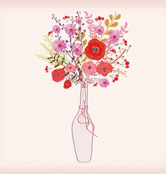 Beautiful card with watercolor flowers bottle with vector