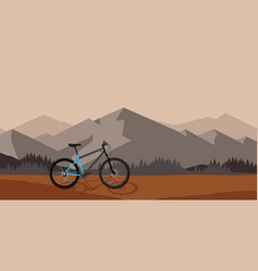 Bicycle riding in wild mountain vector