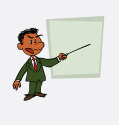 Black businessman points out angry with a pointer vector