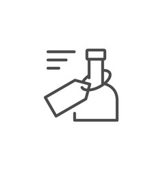 Bottle tag line outline icon vector