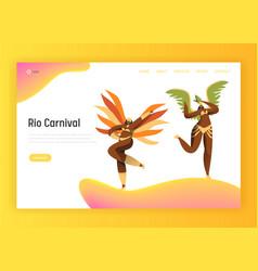 Brazil carnival bikini woman landing page vector