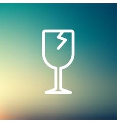 Broken glass wine thin line icon vector