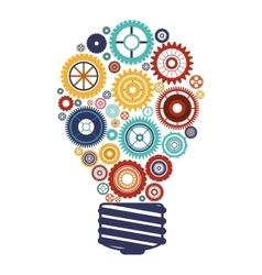 Bulb with gears and idea focus vector