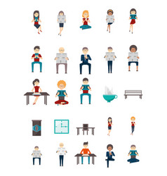 Bundle professions people in office vector