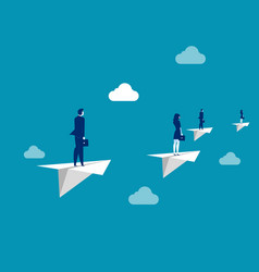 business team flying with paper plane concept vector image