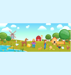 cartoon birds on farm banner vector image
